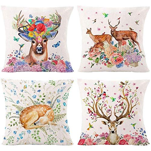AOKDEER Deer Pillows Decorative Throw Pillows Covers, Double Sided Watercolor Animal Custom Pillow Cases Square Cushion Cover for Office Sofa Patio Home Decor 18 x 18 Inch, Set of 4