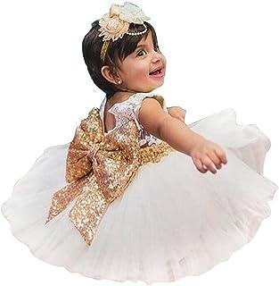 KINDOYO 1-6歳子供幼児の赤ちゃんのスパンコールちょう結びの花のノースリーブレースのプリンセスかわいいドレスパーティー、ウェディングドレスドレス プリンセスドレス
