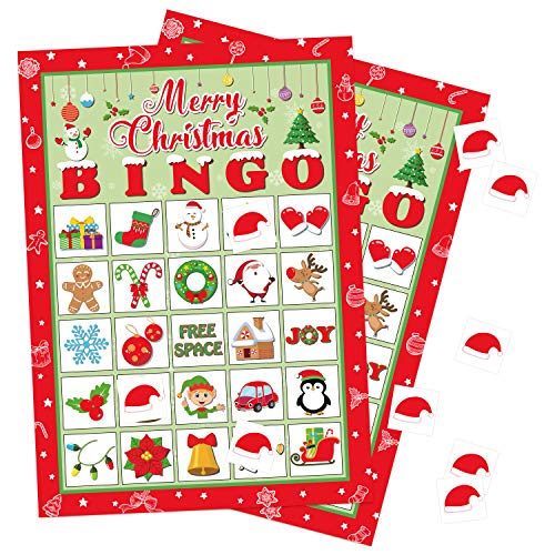 Christmas Bingo Game Xmas Holiday Winter Party Supplies Favors (for 32 Players at Most)