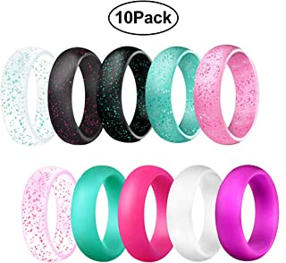 Width Silicone Wedding Rings for Women,Glitter Blingbling Design,Rubber Wedding Engagement Bands Stackable Rings, 5.7mm Wide Size 4 5 6 7 8 9 10-10 Pack