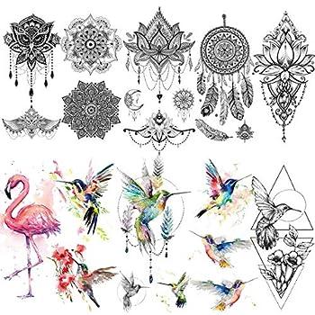VANTATY 10 Sheets Watercolor Flamingo Birds Temporary Tattoos For Women Girls Lady Body Art Fake Indian Washable Arm Tatoos Hummingbirds Owl Mandala Flower Henna Mehndi Lace Tattoo Stickers.