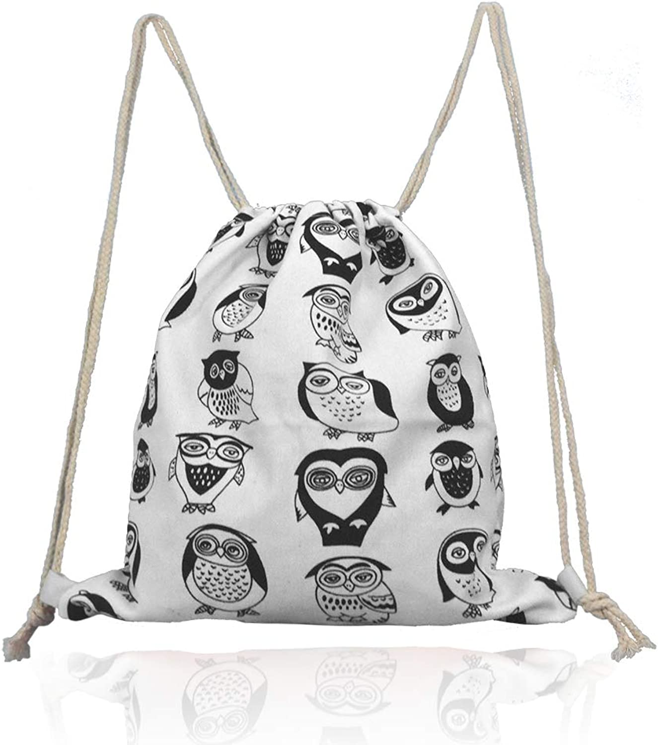 Lacheln Canvas Drawstring Backpack Travel Sackpack Bag Gym Outdoor Sports Portable Daypack for Girl Boys Woman Female (Cartoon Owl)