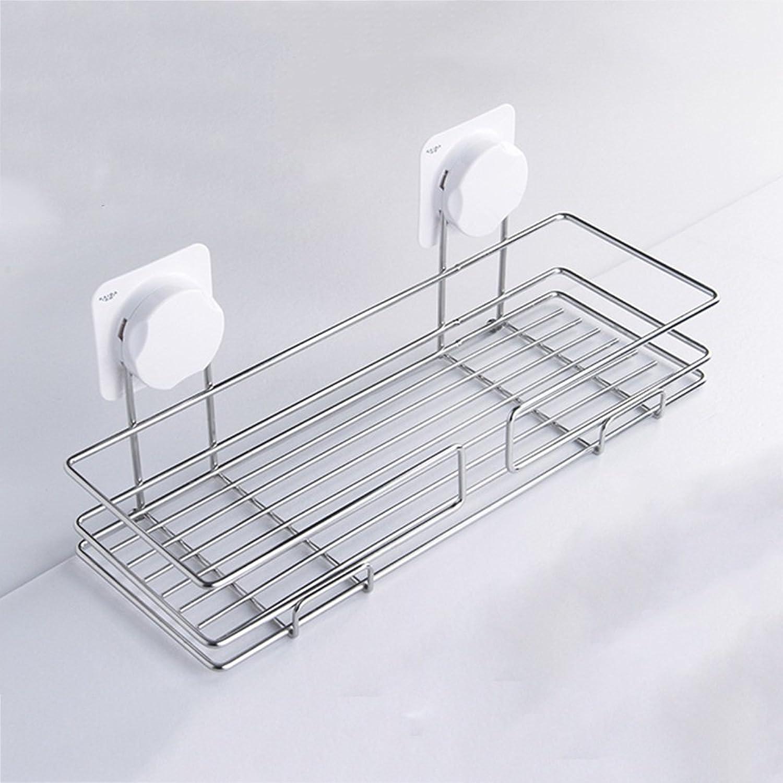 RFJJAL Sucker Type Bathroom Storage Rack -353  138  153mm- Silver Stainless Steel Kitchen Bathroom Supplies Racks Wall-Mounted Storage Rack