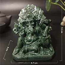 Statue Ornaments Statues Sculptures Lord Ganesha Statue Buddha Elephant God Sculptures with Peacock Man Made Jade Stone Cr...