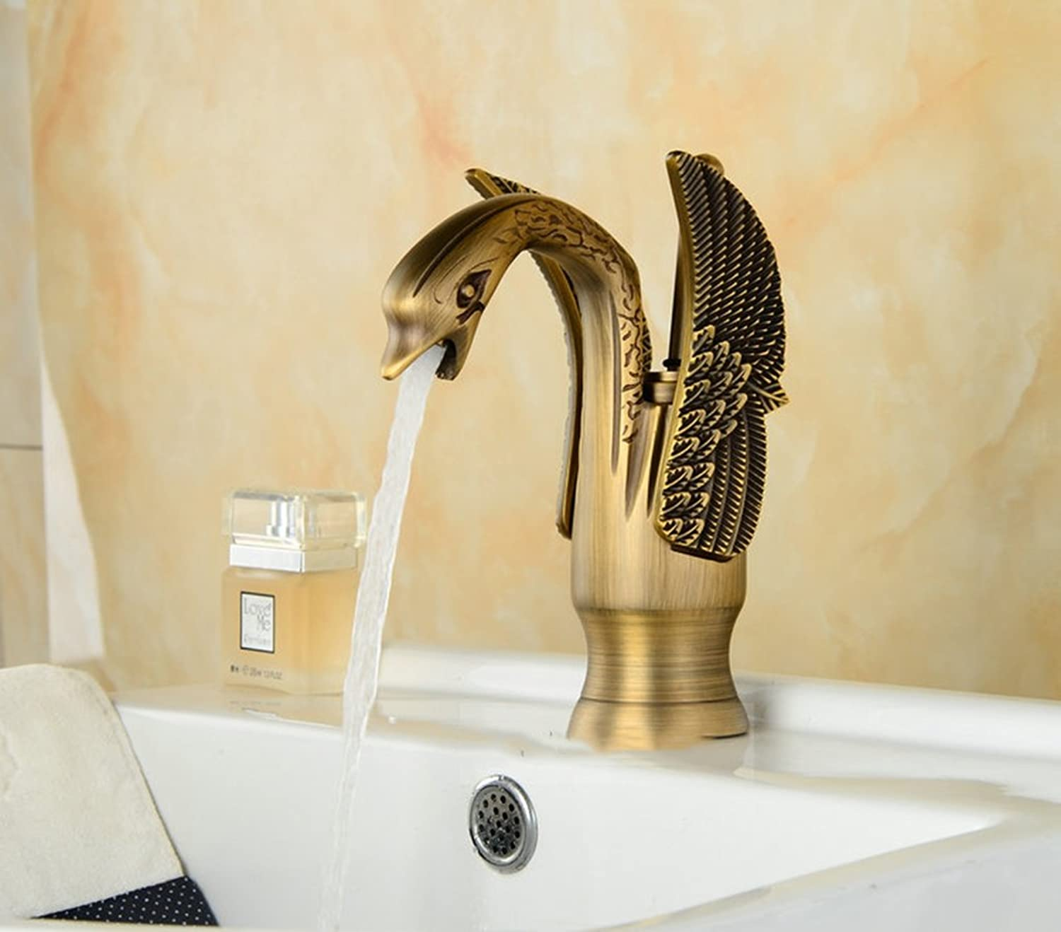 Cqq faucet Full copper swan European style faucet Hot and cold faucet ( color   Imitation Ancient )