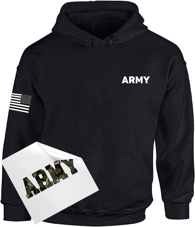 Army Hoodie Military Sweatshirt with USA Flag on Sleeve + Sticker Gift