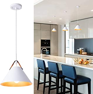 Modern Pendent Light Fixture with Leather and Iron Finish, 1-Light Hanging Light for Kitchen Island Dining Room Bedroom Living Room, UL Listed Wires, White, by YIFI