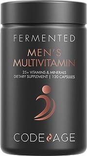 Men's Daily Multivitamin, 25+ Vitamins & Minerals, Fermented, Organic Whole Foods, Probiotics Supplement - ...