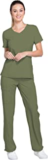 Infinity Women's Mock Wrap Scrub Top 2625A & Low Rise Pull-on Scrub Pants 1124A Medical Scrubs Set (Olive - XX-Small/XX-Small)