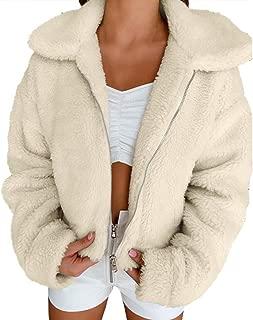 Women Coat Fashion Long Sleeve Lapel Zip Up Faux Fur Oversized Jacket with Pockets Warm Winter Tops Parka Outwear 3XL