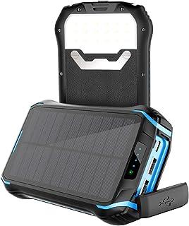 Soluser Solar Power Bank 26800mAh Power Cargador Solar Móvil Portátil Batería Externa con 3 Salidas USB 3.1A y Linterna LED para iPhone iPad Samsung Android Tablets