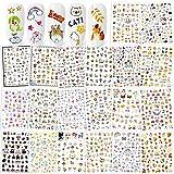 Qpout Adesivi per unghie misti (1100 + modelli), Adesivi per unghie fiori di frutta animale Decorazione autoadesiva per manicure per donne Ragazze Bambini Regalo per unghie fai da te
