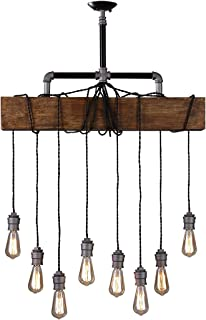 Industrial Rustic Wood Beam Linear Island Pendant Light 8-Light Chandelier Lighting Hanging Ceiling Fixture