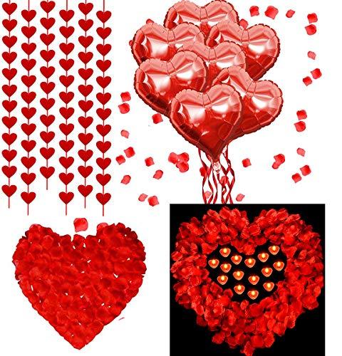 Kit de Decoraciones Del Día de San 50 piezas Valentín Velas en Forma de Corazón Rojo 2000 piezas Pétalos de Rosas Rojas 20 piezas Globos de Corazón 6 piezas Guirnalda de Corazón