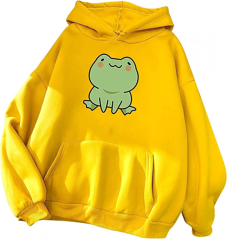 Hoodies for Women,Womens Sweatshirts Hoodie Pullover Plus Size Cute Frog Graphic Long Sleeve Oversized Hoodies