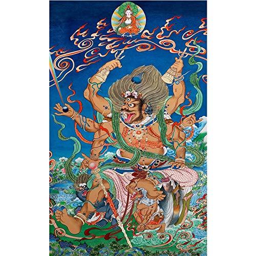 ALIUJUNAMZ Tibetanische Tuch Kunst Tangka Haushaltsgemälde Tangka Vier Himmlische Könige Hall Dekoration Malerei (Color : A, Size (Inch) : 40x65cm No Frame)