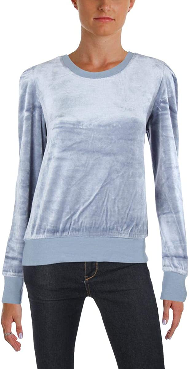 Juicy Couture Womens Soft Velour Puff Sleeve Pullover Lightweight Sweatshirt Top