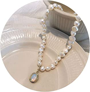 shenyue Baroque for Women Elegant Natural Freshwater Pearls Clavicle Choker Moonstone Pendant Collar Necklace Temperament ...