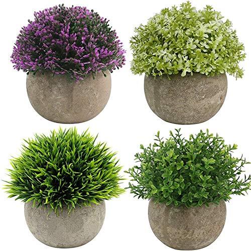 Fltaheroo 4 Paquetes de Plantas Artificiales en Macetas de PláStico Falso Topiario Arbustos Plantas Falsas para DecoracióN de Escritorio de Oficina de HabitacióN