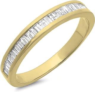 0.13 Carat (ctw) 10K Gold Baguette Cut White Diamond Ladies Stackable Anniversary Wedding Band