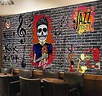 写真の壁紙レトロなレンガの壁ロックパンク音楽ツーリング背景壁リビングルームの壁の芸術の壁の装飾の家の装飾のための大きな壁壁画シリーズの壁紙-98.4x68.9inch/250cmx175cm