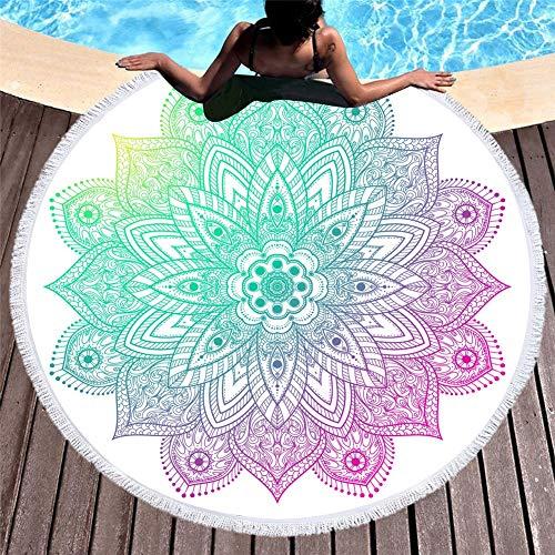 Kaper Go Toalla De Playa Redonda Suave Y Duradera con Borla De Impresión Lateral Absorbente Toalla De Playa Mantón Baño Cojín