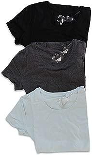 Banana Republic Lot of 3 Women's S/S Timeless Crew Neck Tee Shirt (Large) Semi-Fitted (Egg Blue, Black, Gray)