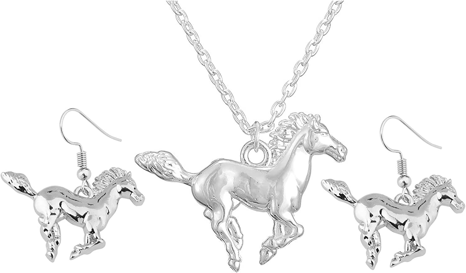 Lucky Running Horse Pendant Necklace Stud Earrings Jewelry Set for Women Girls Kids Cute Wedding Animal Jewelry Party Gift-2
