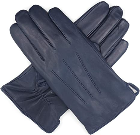 Harssidanzar Mens Luxury Italian Sheepskin Leather Gloves Vintage Finished Cashmere Lined