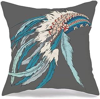 Funda de almohada decorativa de lino, tradición, salvaje, humano, grunge, con plumas, tocado, vestido indio, cabeza, disfraz, objetos, jefe, cómodo, cuadrado, cojín, funda, para, coche, sofá, cama