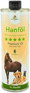Mahu Natur Hanföl für Hunde & Pferde 1 Liter | 100% Kaltgepresst - Natürlicher Barf Öl Zusatz - Über 80% Ungesättigte Fettsäuren (Omega 3 & Omega 6) Für Haut + Fell | In Recyclebarer Dose