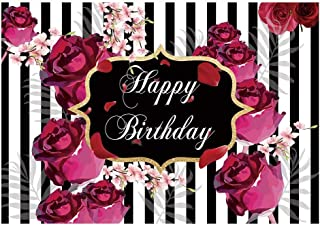Funnytree 7x5ft Floral Happy Birthday Party Backdrop Roses Flowers Black and White Stripes Girl Adult Photography Background Sweet 16 Cake Table Decorations Banner Photo Booth