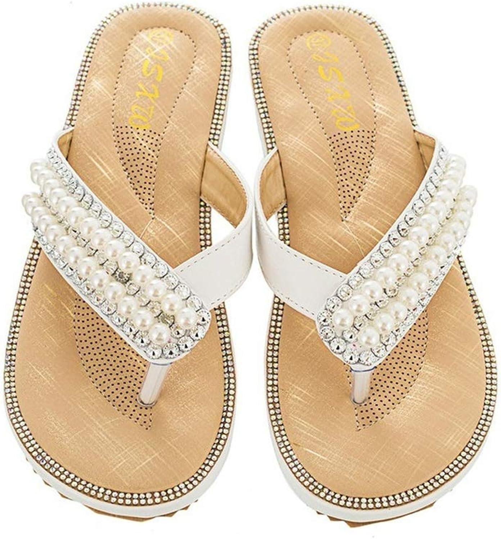 HEDDK Women's Summer Bohemia Flip Flops Women Pearl Sandals Slippers Low Heel Beach Sandal Plus Size 36-41
