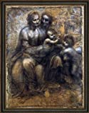 Art Oyster Leonardo Da Vinci Madonna and Child with St Anne and The Young St John - 18.05' x 24.05' Premium Canvas Print with Black Leather Look Frame