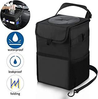 100% Waterproof Car Trash Can with Lid/ Storage Pockets, Collapsible 2.6 Gallon Car Garbage Can, Portable Hanging Trash Bin with Oxford Cloth Leakproof Inside Lining for Vehicles, RV, Boats (Black)