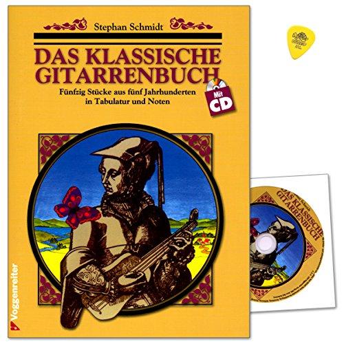 Das klassische Gitarrenbuch - Lehrmaterial von Stephan Schmidt - 50 Stücke aus 5 Jahrhunderten in Tabulatur und Noten für klassische Gitarre - Notenbuch mit CD und Dunlop Plek