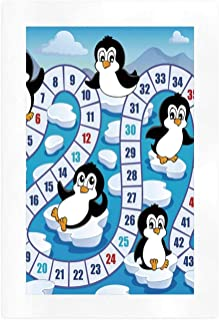 YOLIYANA Board Game Advanced Art Print,Cute Funny Penguins Antarctica Aquatic Environment Iceberg Ocean Happy Animals for CAF��,16