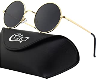 a54163fc5e69 CGID Retro Vintage John Lennon Inspired Polarised Sunglasses with Round  Metal Frame for Men and Women