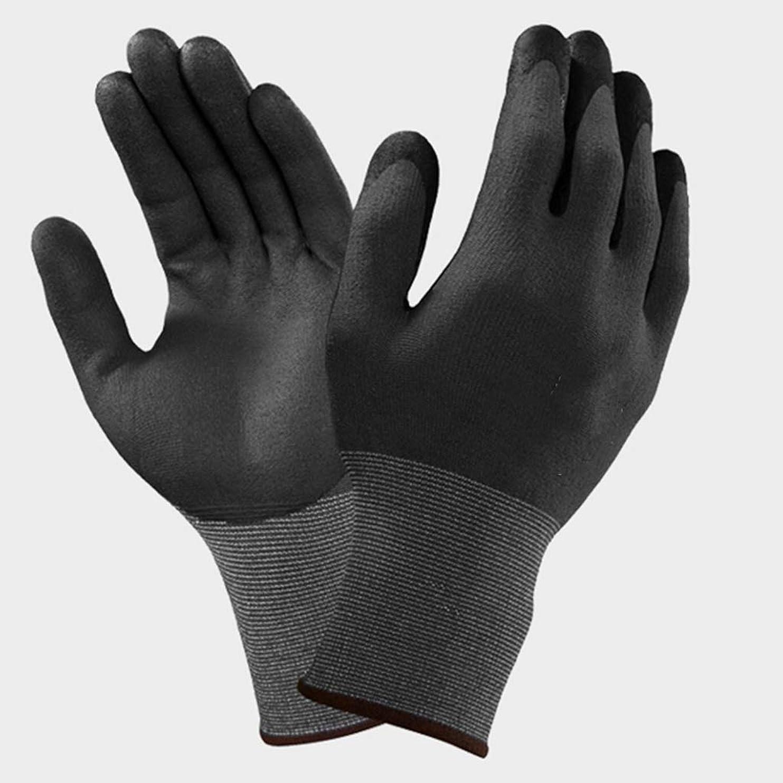 暴君哲学的賠償LIUXIN ニトリルゴム手袋滑り止め、抗カッティングおよび耐摩耗性作業労働者保護手袋多目的用途ブラック ゴム手袋