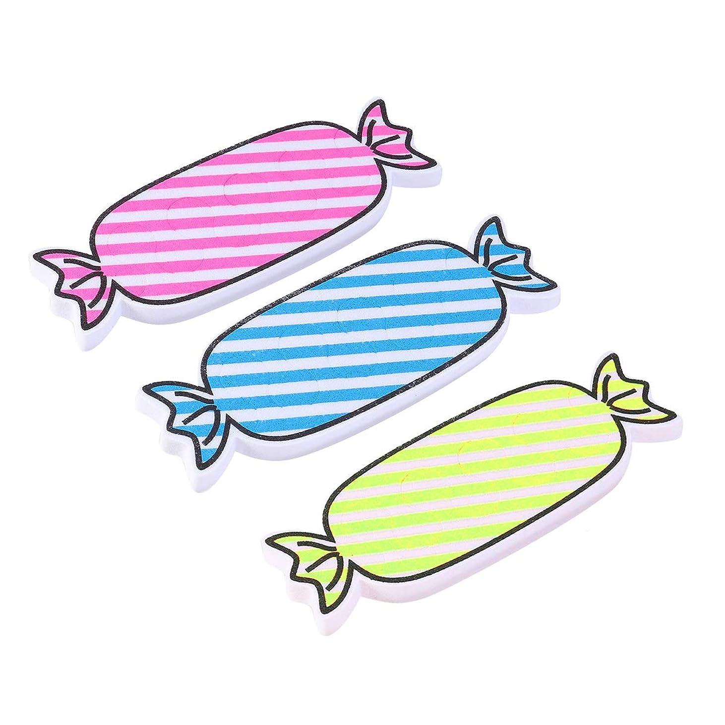 フェンスレビュアー体Healifty トゥセパレーターキャンディーシェイプフィンガートゥスペーサー仕切り用マニキュアネイルアート24本(バラ色、黄色、青)