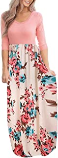 Women's Maxi Dress Floral Printed Autumn 3/4 Sleeve Casual Tunic Long Maxi Dress