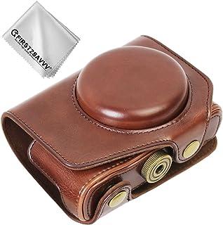 First2savvv marron oscuro Calidad premium Funda Cámara cuero de la PU cámara digital bolsa caso cubierta con correa para Panasonic DMC-LX10K . LX15 LX10 XJD-LX10K-10G11