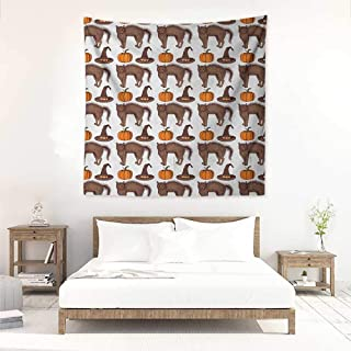 Halloween Living Room Square Tapestry Seasonal Vintage Pattern with Pumpkin Squash Witch Hats and Cat Figures Tapestry for Home Decor 70W x 70L INCH Brown Orange Green