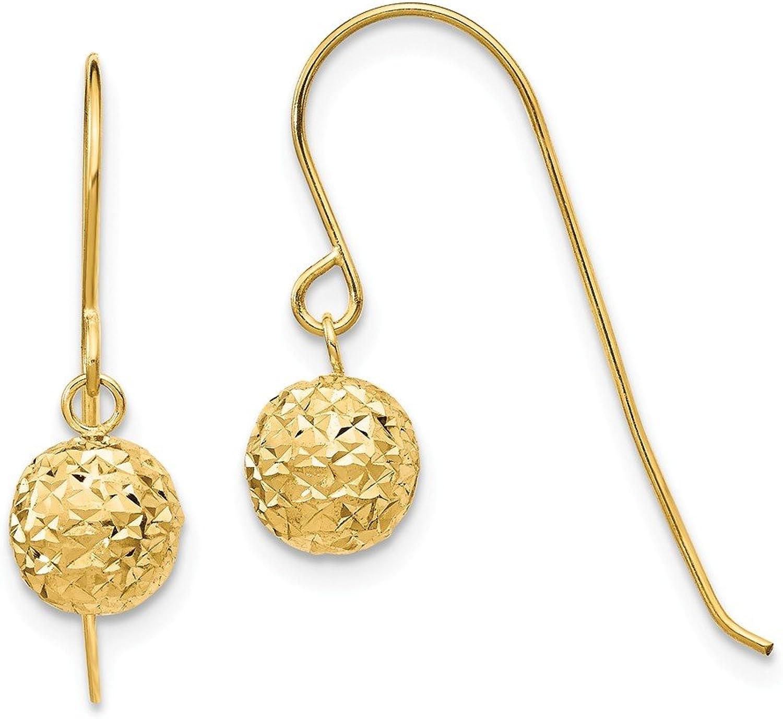 Beautiful Yellow gold 14K Yellowgold 14K 6mm Diamond Cut Bead Dangle Earrings