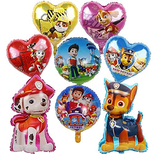 Globos de cumpleaños XXL Globos de papel de aluminio, globos de Paw Perro Patrulla Canina, globos de aire para cumpleaños, decoración para niños, 8 unidades