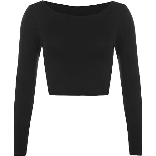 3c976c54cff48 WearAll Womens Crop Long Sleeve T Shirt Ladies Short Plain Round Neck Top  8-14