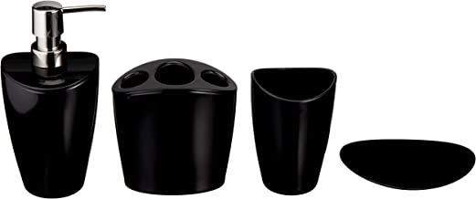 AmazonBasics 4-Piece Bathroom Accessories Set, Liquid Black