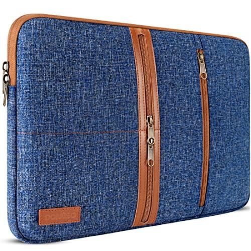 DOMISO 15,6 Pulgadas Laptop Sleeve Canvas portátil con Cremallera Tablet Bolsa Bolsa 3 Capas de protección Bolsa 3 Bolsillos Caso para 15.6' Lenovo Yoga Chromebook/Lenovo IdeaPad 530S,Azul