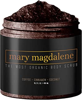 Mary Magdalene Coffee, Cinnamon & Coconut Oil Body Scrub - 100% Natural, Anti Cellulite & Stretch Mark Treatment - 15.2 Fl...