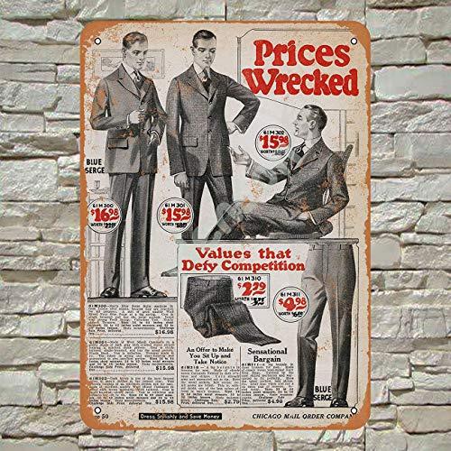 Henson 1920 Heren pakken Traditionele Vintage Tin Teken Logo 12 * 8 Reclame Opvallende Muurdecoratie